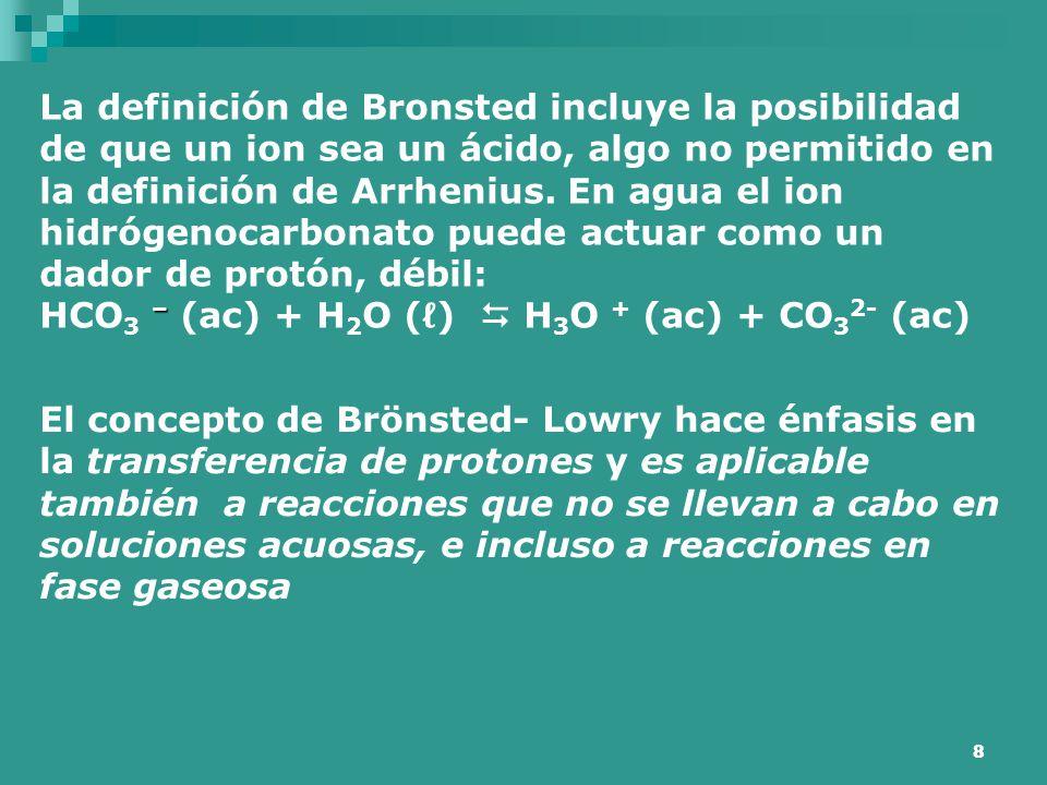 La definición de Bronsted incluye la posibilidad de que un ion sea un ácido, algo no permitido en la definición de Arrhenius. En agua el ion hidrógenocarbonato puede actuar como un dador de protón, débil: