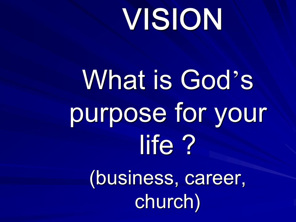 What is God's purpose for your life (business, career, church)