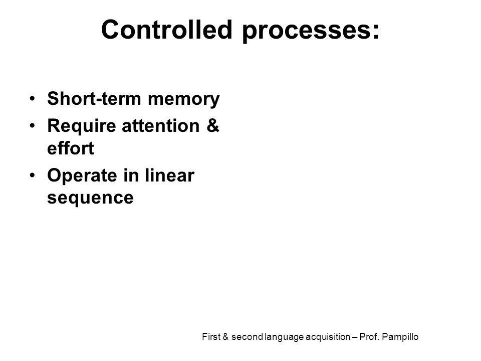 Controlled processes: