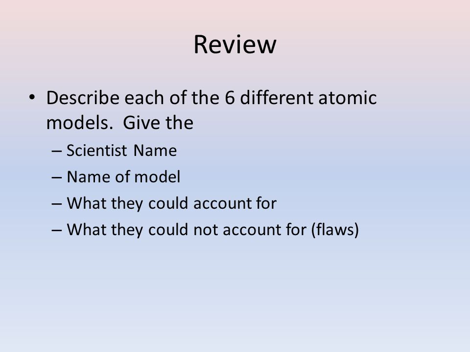 Review Describe each of the 6 different atomic models. Give the