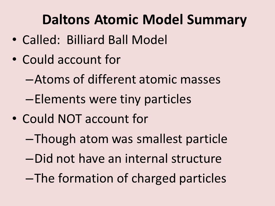 Daltons Atomic Model Summary