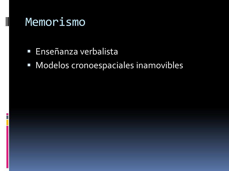 Memorismo Enseñanza verbalista Modelos cronoespaciales inamovibles