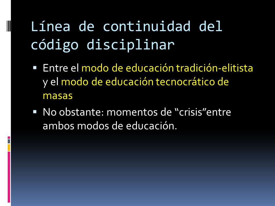 Línea de continuidad del código disciplinar