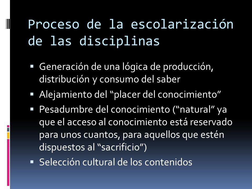 Proceso de la escolarización de las disciplinas