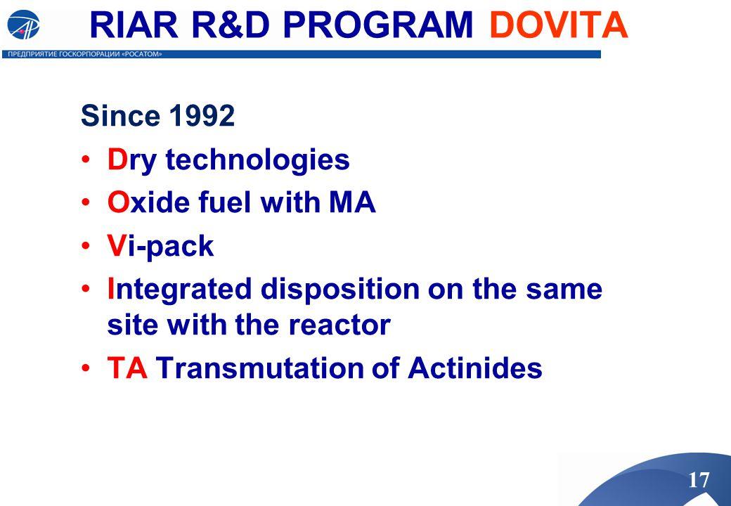 RIAR R&D PROGRAM DOVITA