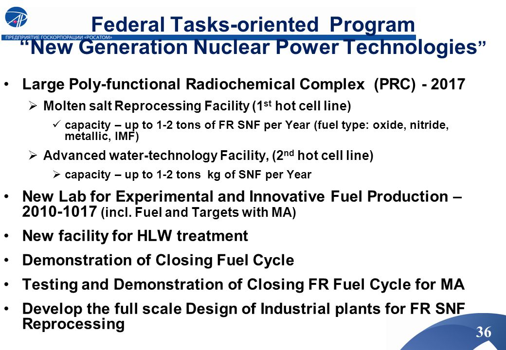 Federal Tasks-oriented Program New Generation Nuclear Power Technologies