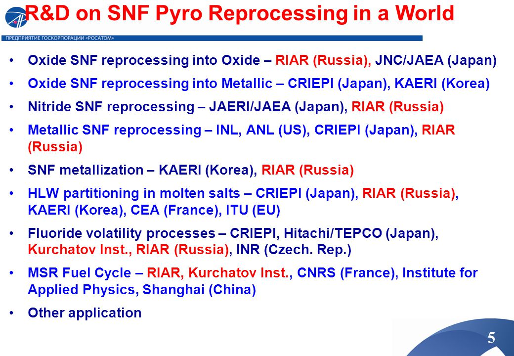R&D on SNF Pyro Reprocessing in a World