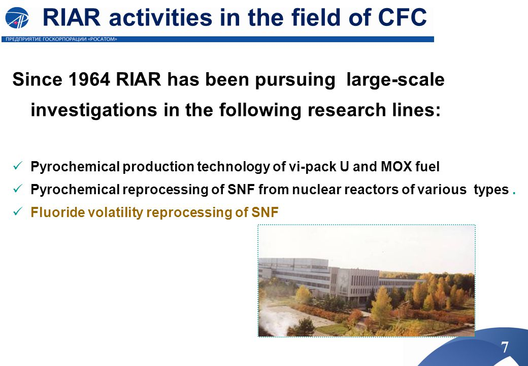 RIAR activities in the field of CFC