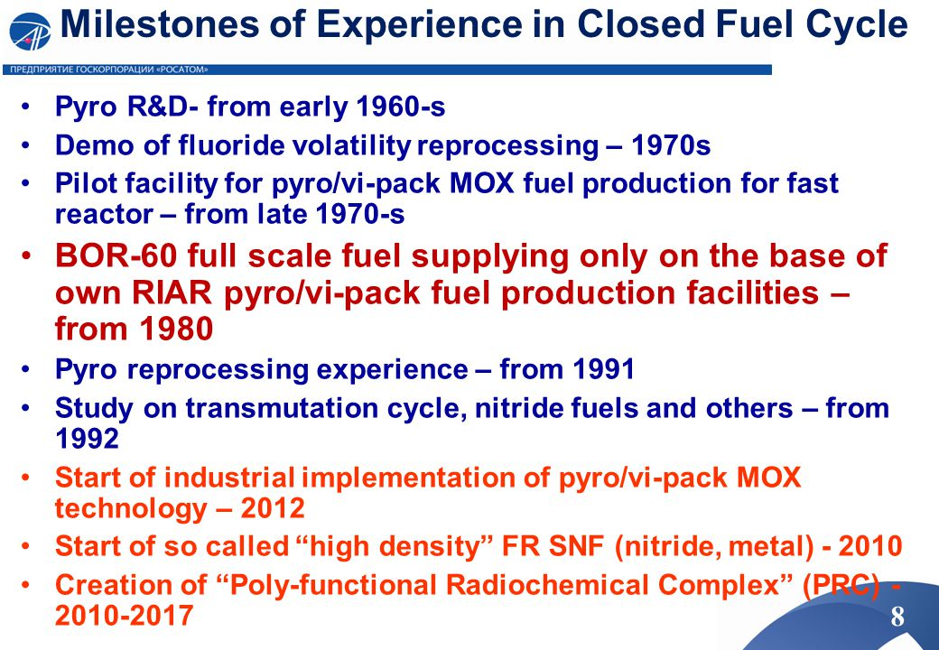 Milestones of Experience in Closed Fuel Cycle