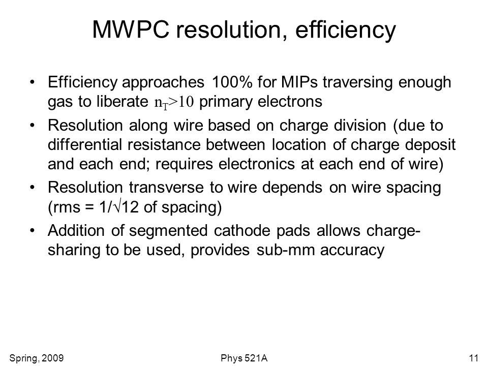 MWPC resolution, efficiency