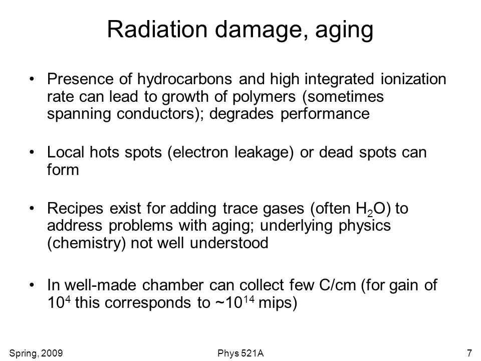 Radiation damage, aging