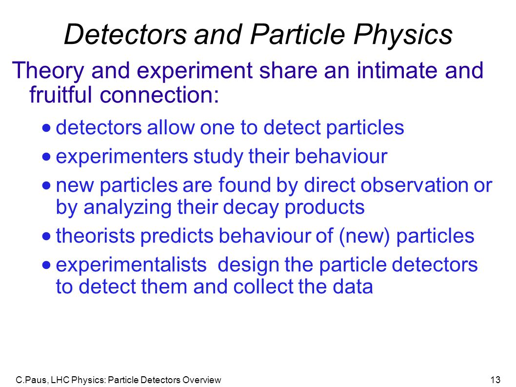 Detectors and Particle Physics
