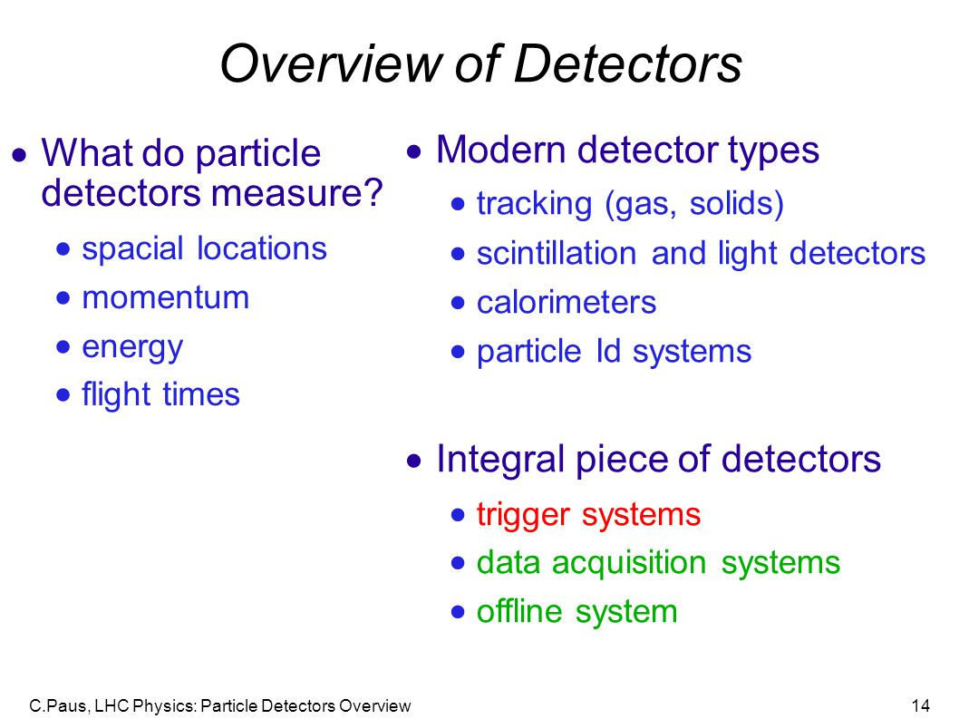 Overview of Detectors Modern detector types