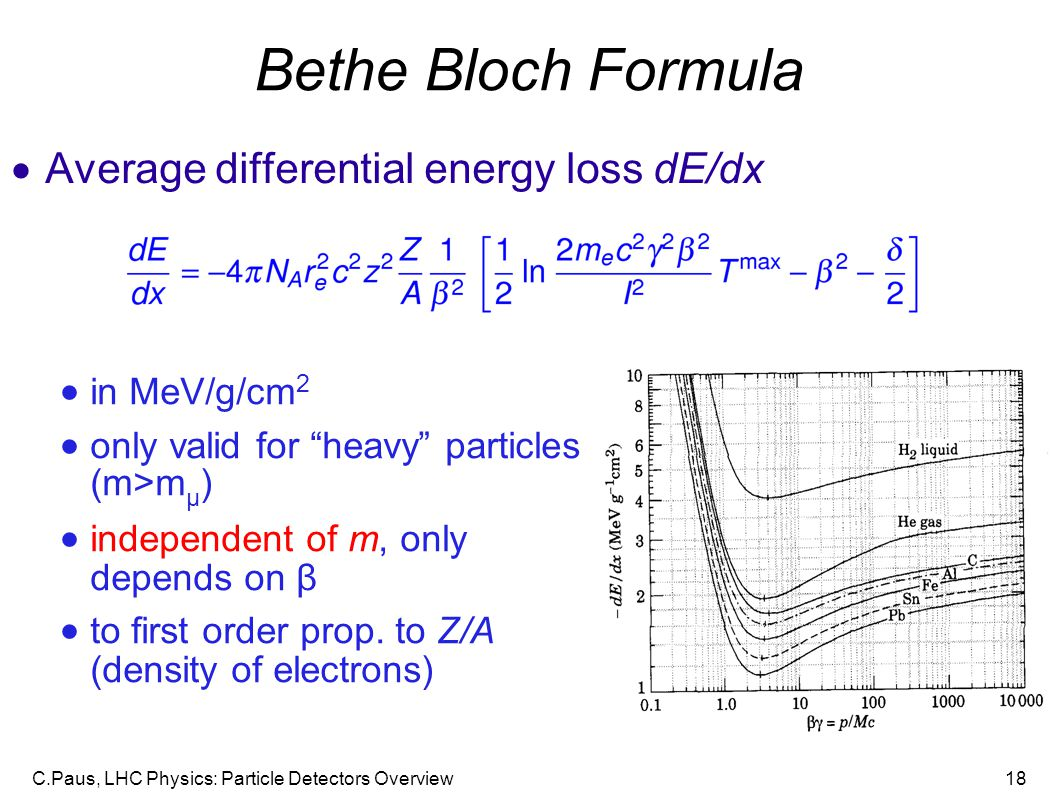 Bethe Bloch Formula Average differential energy loss dE/dx
