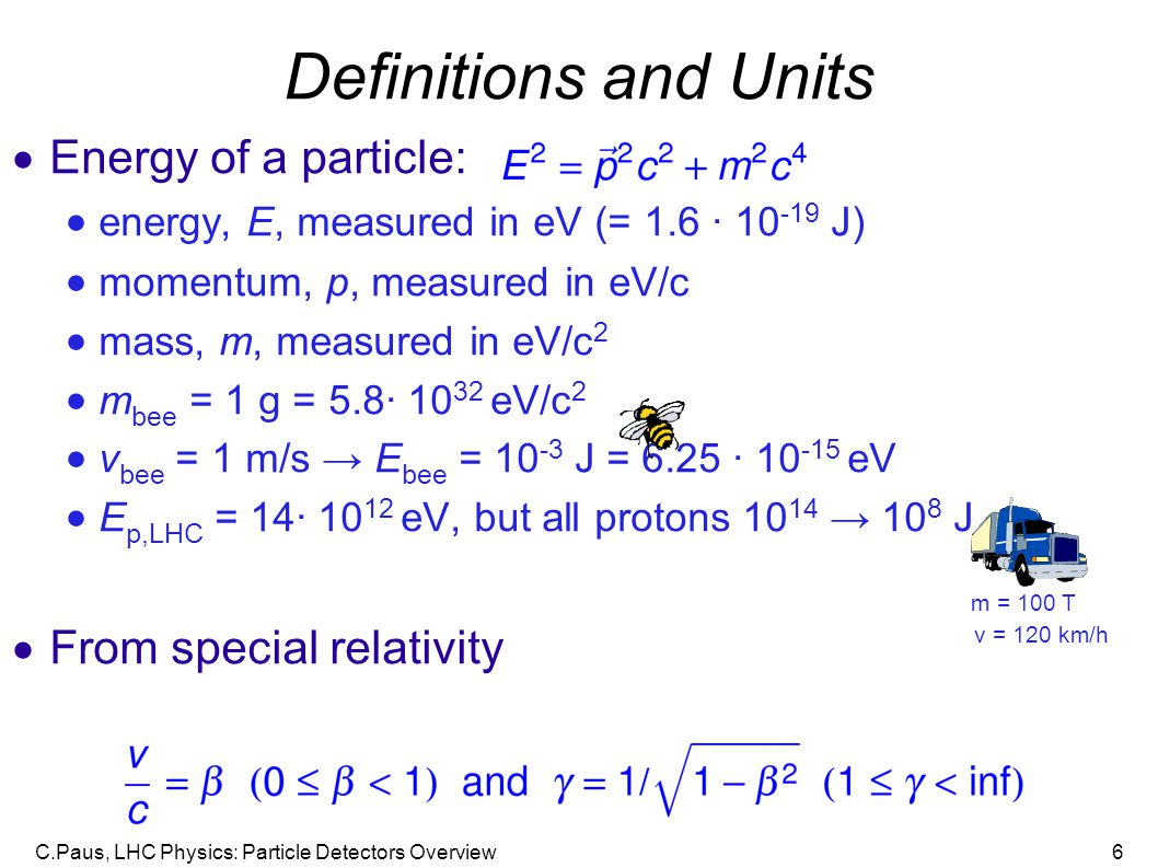 Definitions and Units Energy of a particle: From special relativity