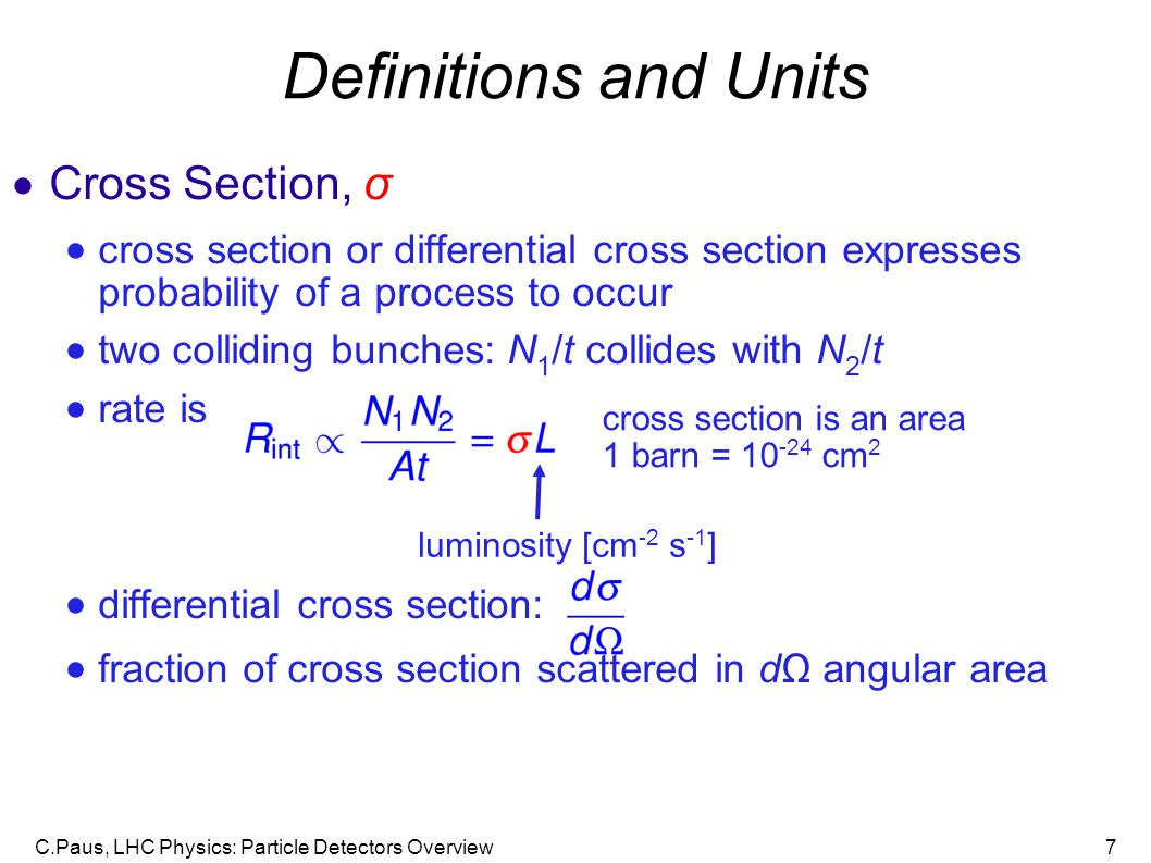 Definitions and Units Cross Section, σ
