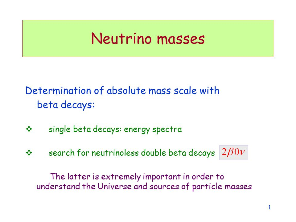 Neutrino masses Determination of absolute mass scale with beta decays: