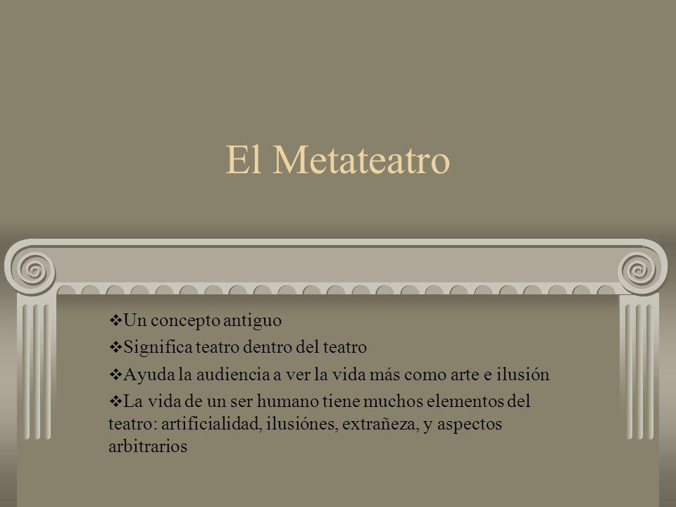 El Metateatro Un concepto antiguo Significa teatro dentro del teatro