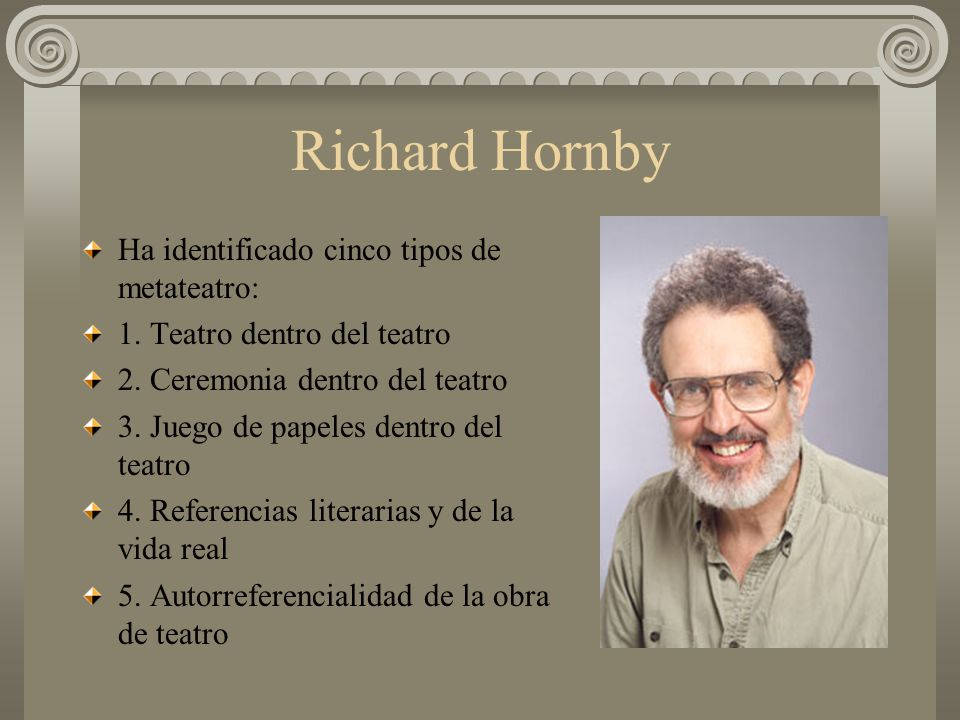 Richard Hornby Ha identificado cinco tipos de metateatro: