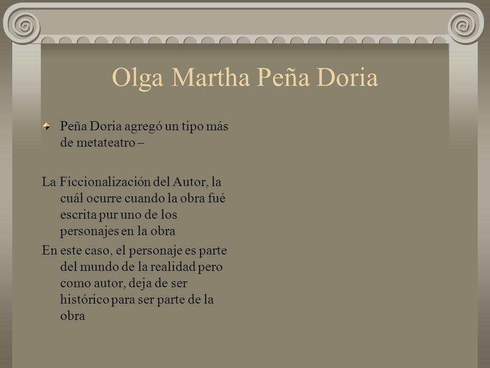 Olga Martha Peña Doria Peña Doria agregó un tipo más de metateatro –