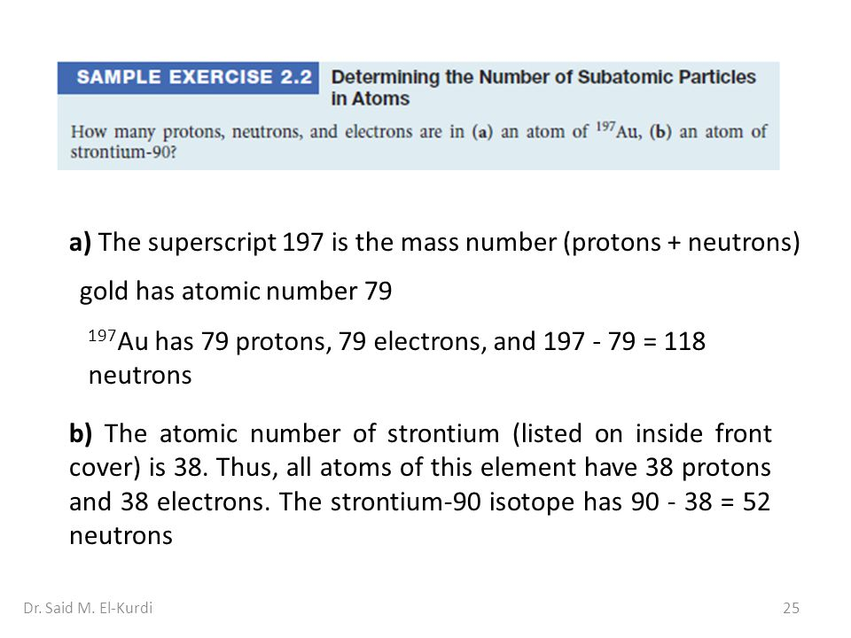 a) The superscript 197 is the mass number (protons + neutrons)