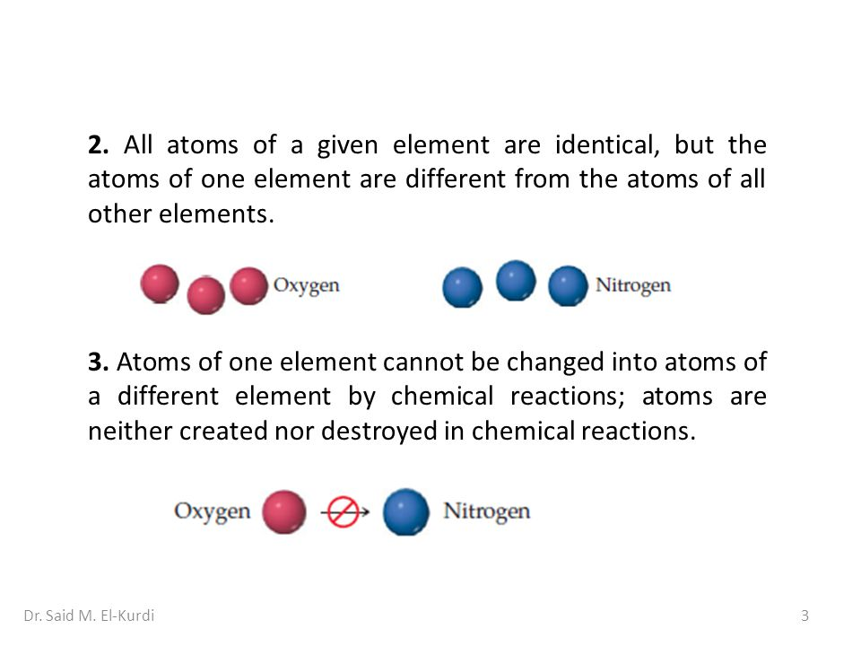 2. All atoms of a given element are identical, but the atoms of one element are different from the atoms of all other elements.