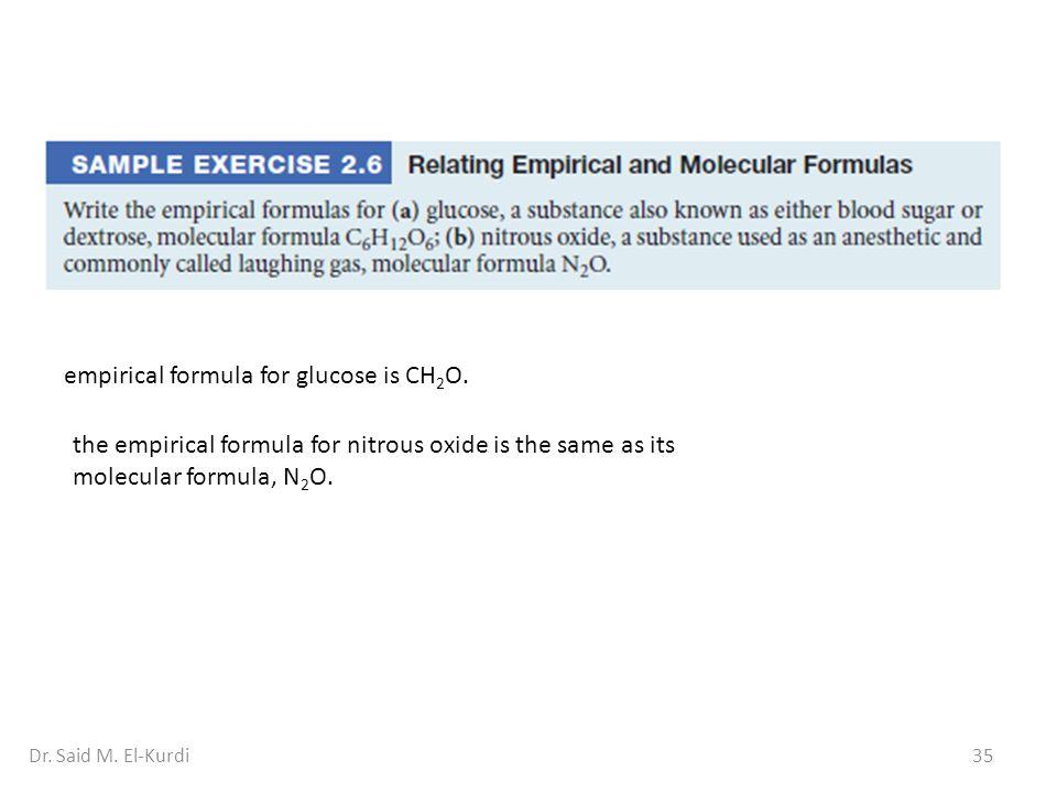 empirical formula for glucose is CH2O.