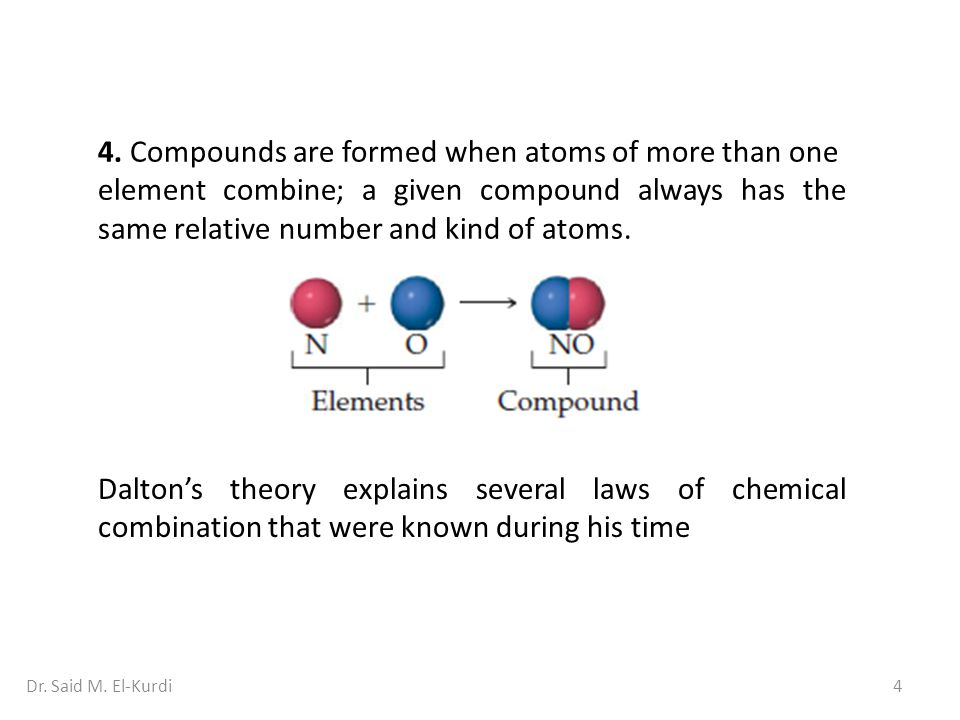 4. Compounds are formed when atoms of more than one