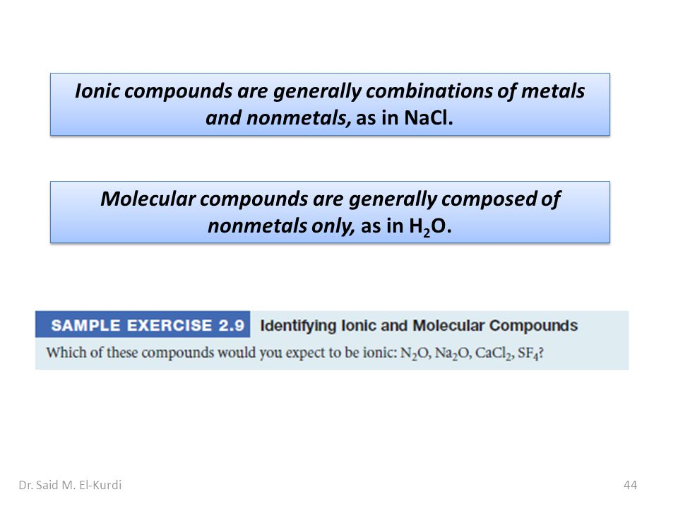 Ionic compounds are generally combinations of metals and nonmetals, as in NaCl.