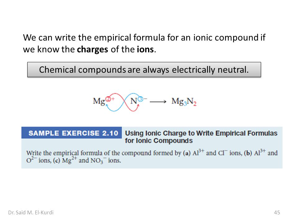 Chemical compounds are always electrically neutral.