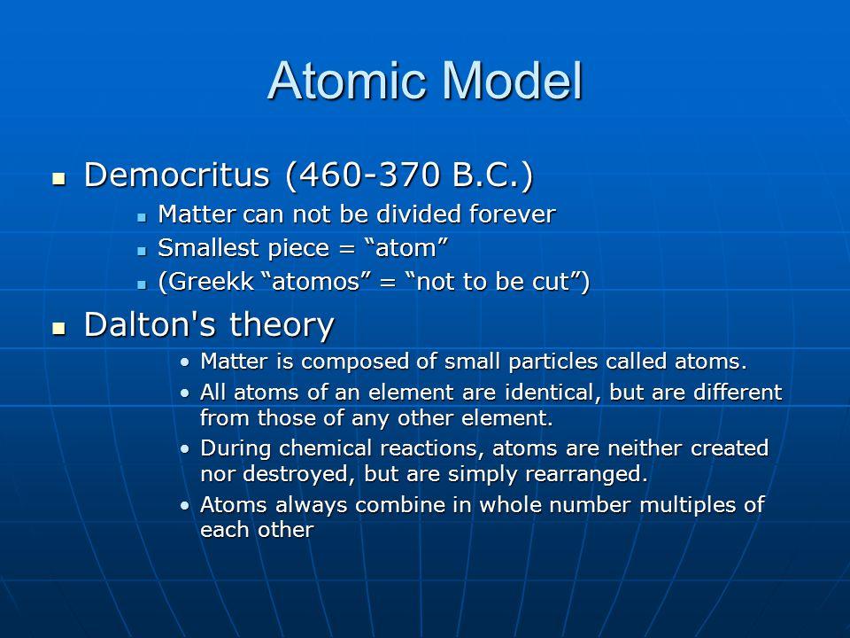 Atomic Model Democritus (460-370 B.C.) Dalton s theory