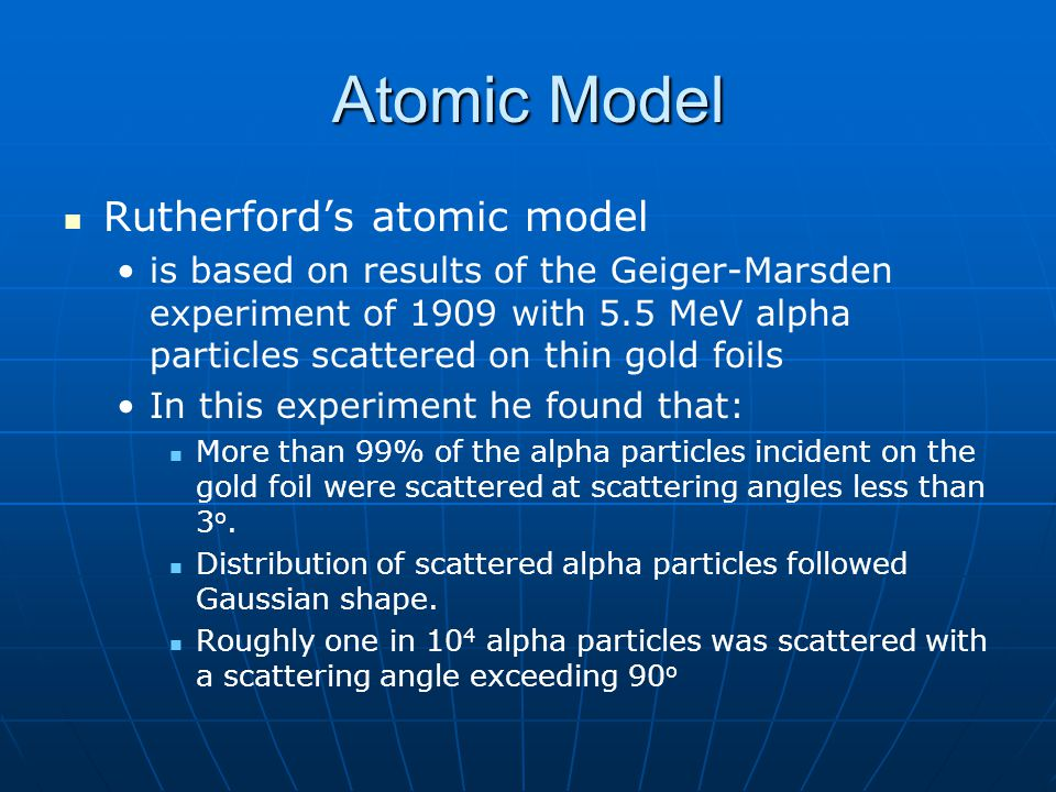 Atomic Model Rutherford's atomic model