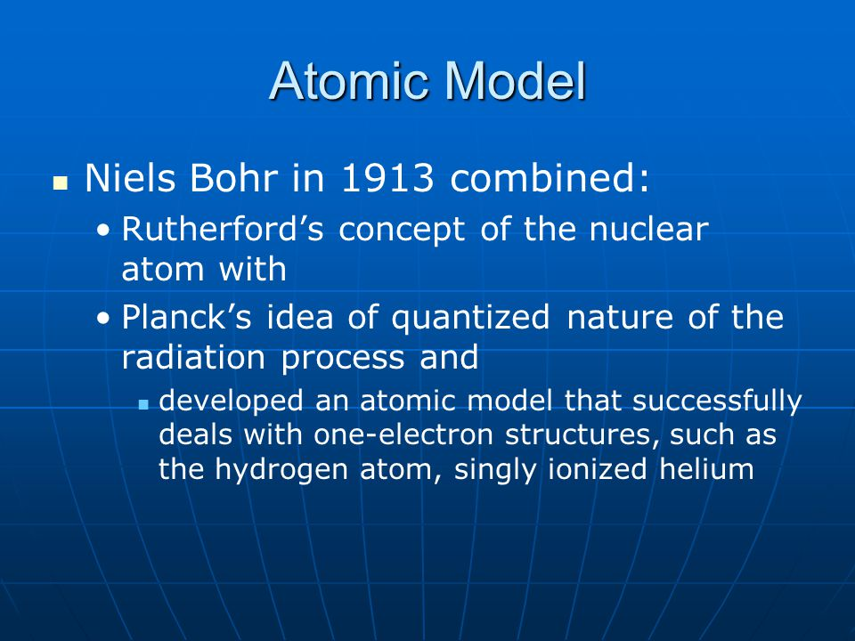 Atomic Model Niels Bohr in 1913 combined: