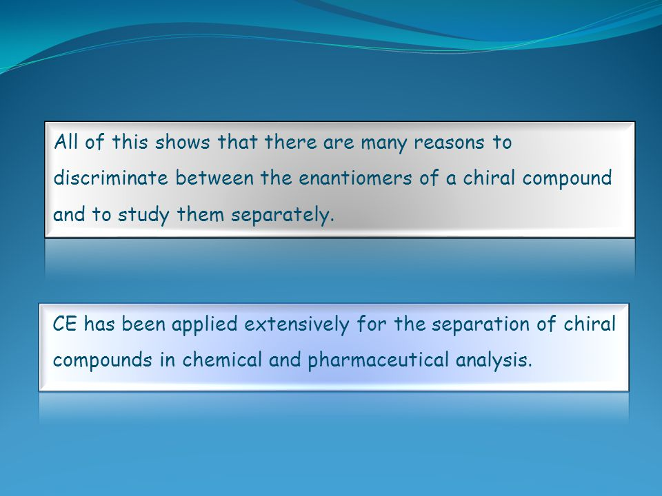 All of this shows that there are many reasons to discriminate between the enantiomers of a chiral compound and to study them separately.