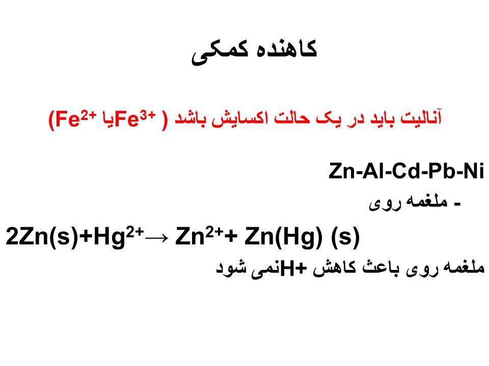 آنالیت باید در یک حالت اکسایش باشد ( Fe3+یا (Fe2+