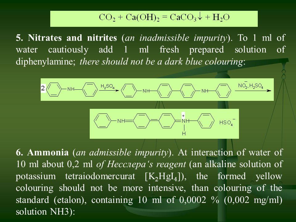 5. Nitrates and nitrites (an inadmissible impurity)