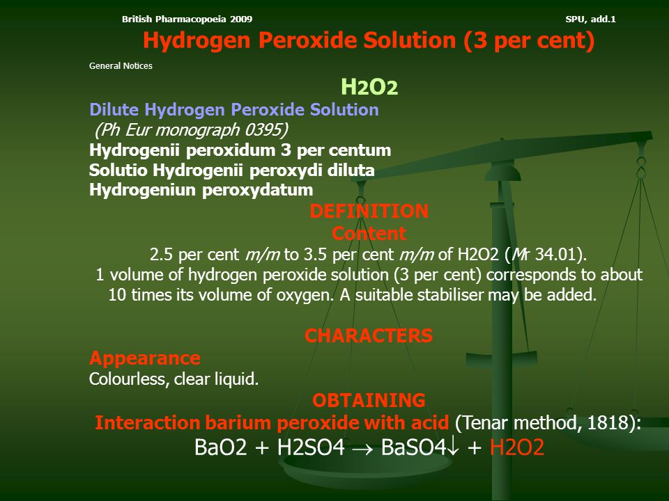 Hydrogen Peroxide Solution (3 per cent) H2O2