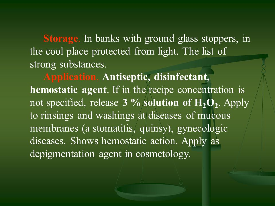 Storage. In banks with ground glass stoppers, in the cool place protected from light. The list of strong substances.