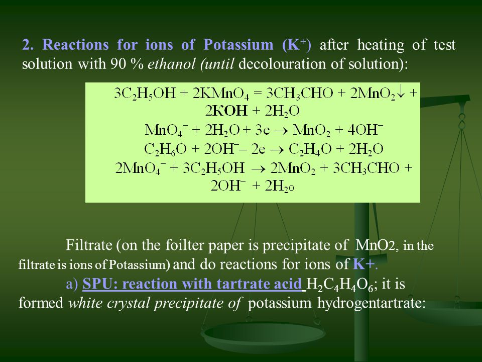 2. Reactions for ions of Potassium (K+) after heating of test solution with 90 % ethanol (until decolouration of solution):
