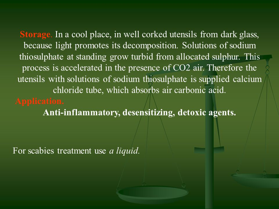 Anti-inflammatory, desensitizing, detoxic agents.