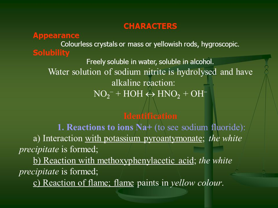 1. Reactions to ions Na+ (to see sodium fluoride):