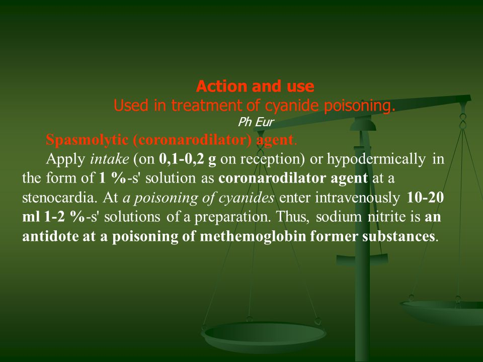 Used in treatment of cyanide poisoning.