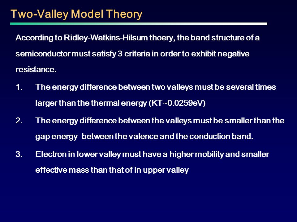 Two-Valley Model Theory