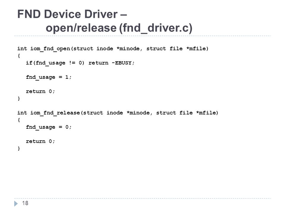 FND Device Driver – open/release (fnd_driver.c)