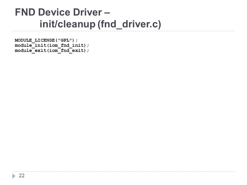 FND Device Driver – init/cleanup (fnd_driver.c)