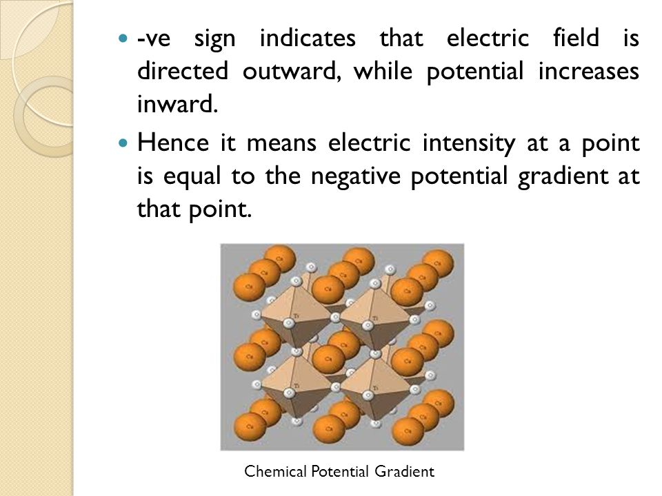 -ve sign indicates that electric field is directed outward, while potential increases inward.