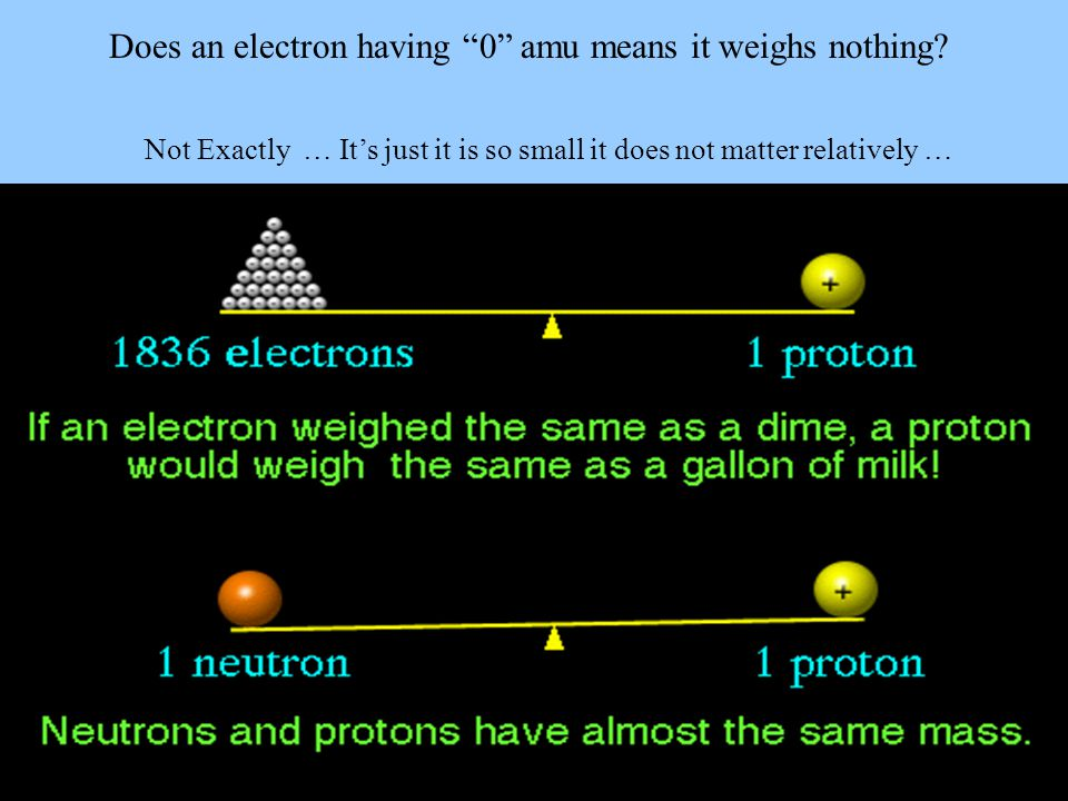 Does an electron having 0 amu means it weighs nothing