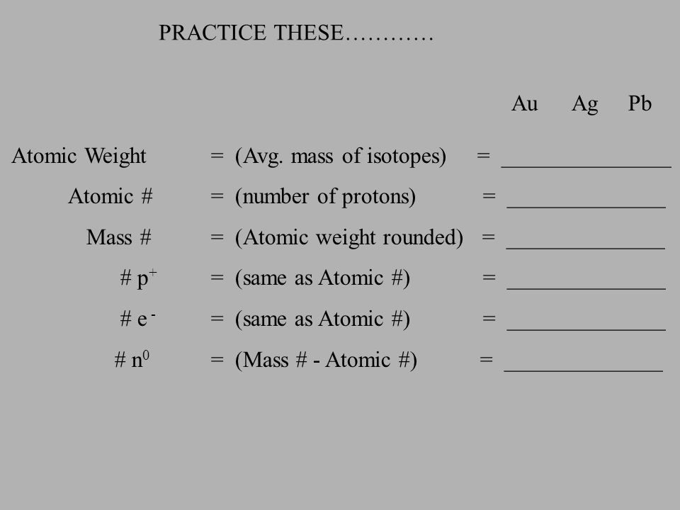 PRACTICE THESE………… Au Ag Pb. Atomic Weight = (Avg. mass of isotopes) = _______________.