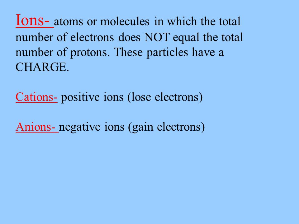 Ions- atoms or molecules in which the total number of electrons does NOT equal the total number of protons. These particles have a CHARGE.