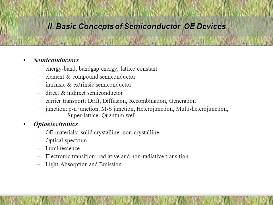 II. Basic Concepts of Semiconductor OE Devices